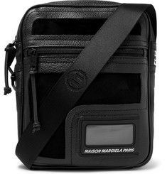 Suede And Pvc-trimmed Full-grain Leather Messenger Bag - Black