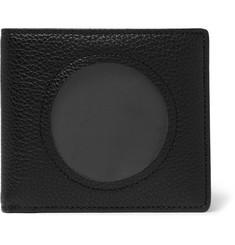 Cutout Textured-leather Billfold Wallet - Black