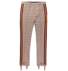 Stella McCartney Webbing-Trimmed Prince of Wales Checked Wool and Cotton-Blend Trousers