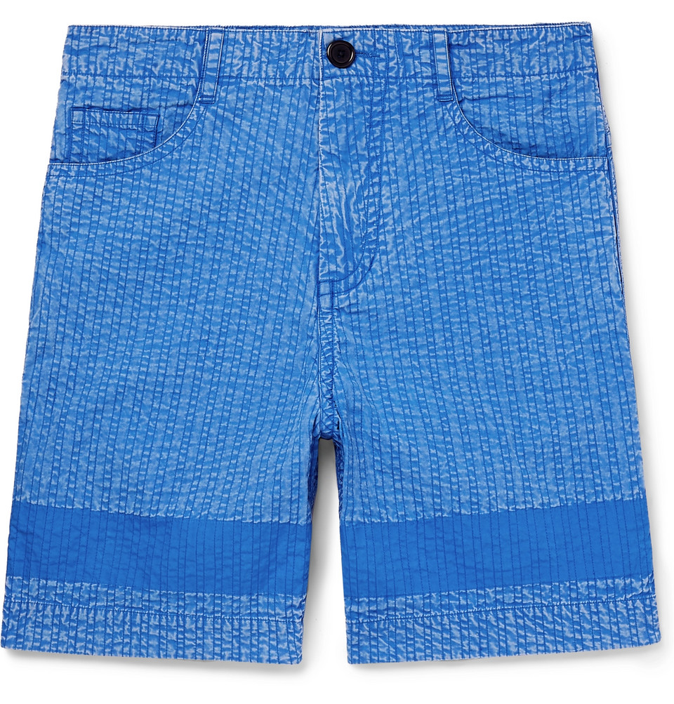 Acid-washed Cotton Shorts - Blue