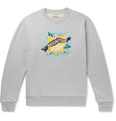 Maison Kitsuné Embroidered Printed Loopback Cotton-Jersey Sweatshirt