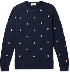 Maison Kitsuné Slim-Fit Embroidered Loopback Cotton-Jersey Sweatshirt