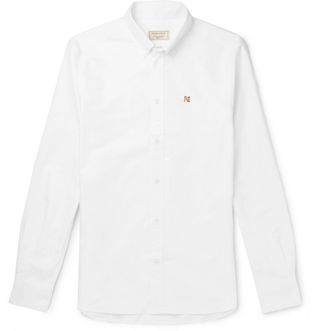 Slim Fit Button Down Collar Logo Embroidered Cotton Oxford Shirt by Maison Kitsuné