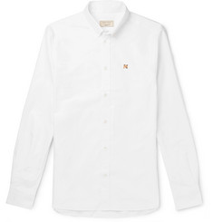 Maison Kitsuné Slim-Fit Button-Down Collar Logo-Embroidered Cotton Oxford Shirt