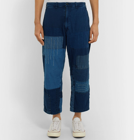 Cropped Patchwork Indigo Dyed Denim Jeans by Blue Blue Japan