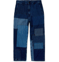 Blue Blue Japan Cropped Patchwork Indigo-Dyed Denim Jeans