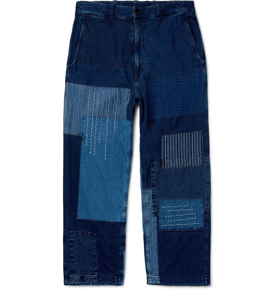 Cropped Patchwork Indigo-dyed Denim Jeans - Indigo