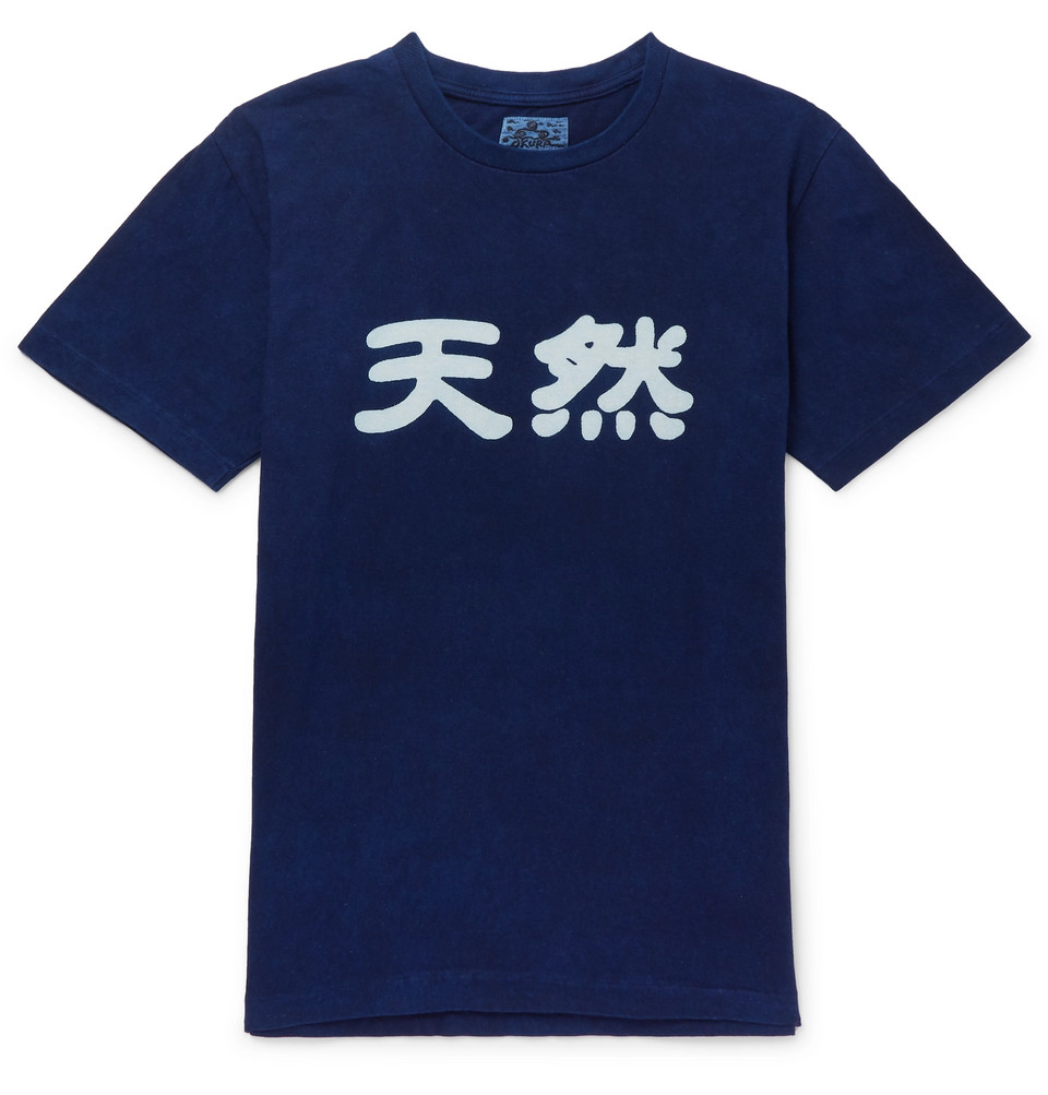 Printed Cotton-jersey T-shirt - Indigo