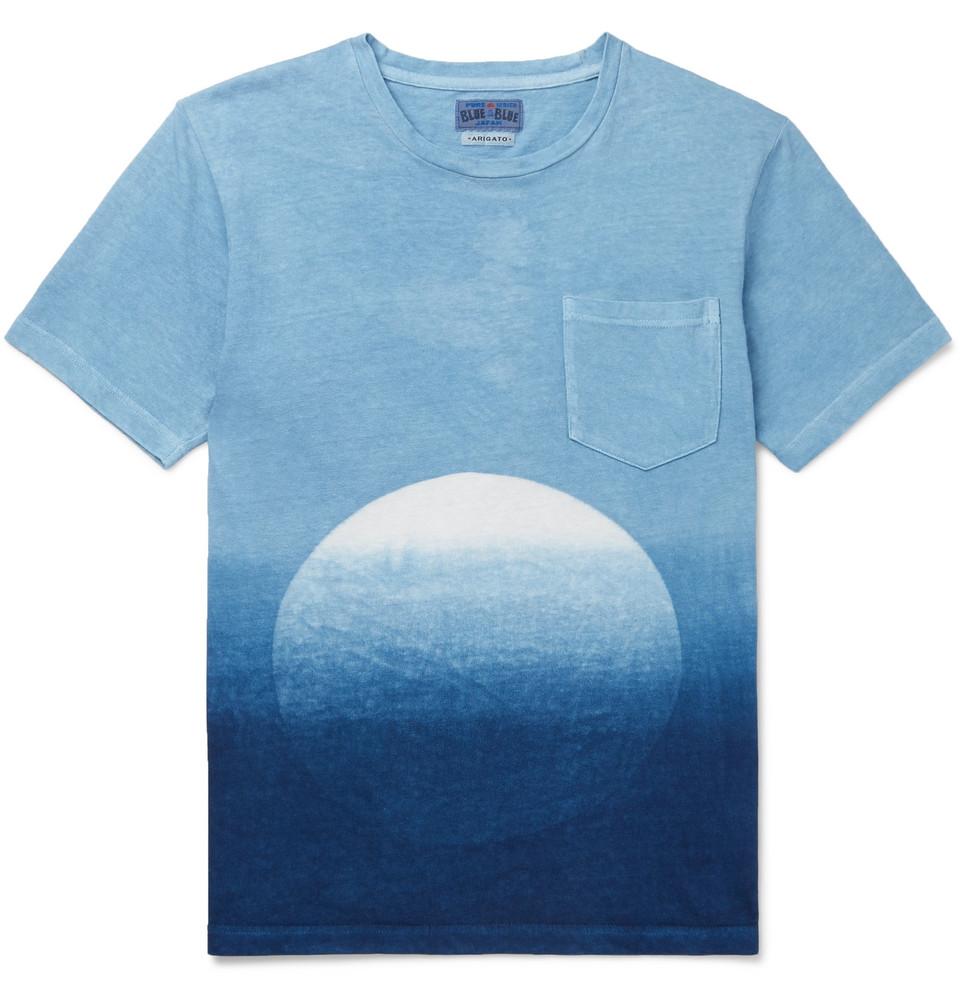 Slim-fit Dégradé Indigo-dyed Cotton-jersey T-shirt - Blue