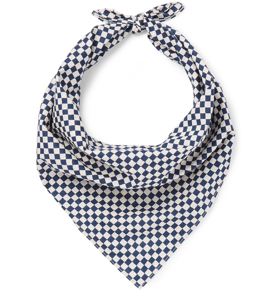 Checked Cotton Bandana - Indigo
