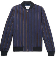 Mr P. Striped Linen-Blend Bomber Jacket