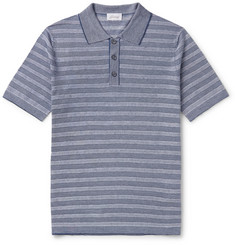 Brioni Slim-Fit Striped Knitted Linen and Silk-Blend Polo Shirt