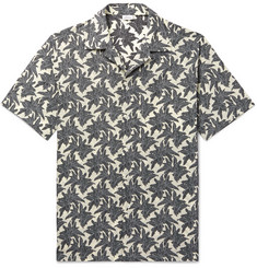 Brioni Camp-Collar Printed Linen and Cotton-Blend Shirt