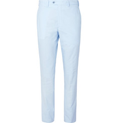 Brioni Sky-Blue Slim-Fit Tapered Cotton-Poplin Suit Trousers