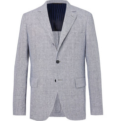 MP Massimo Piombo Navy Andy Unstructured Puppytooth Linen Blazer