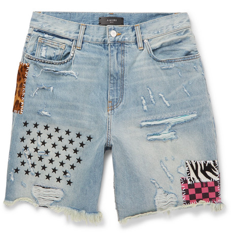 Amiri Shorts PANELLED DISTRESSED DENIM SHORTS