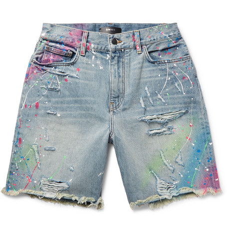 Thrasher Wide Leg Distressed Paint Splattered Denim Shorts by Amiri