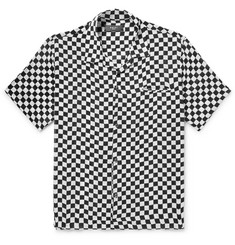 AMIRI Camp-Collar Checkerboard Silk Shirt