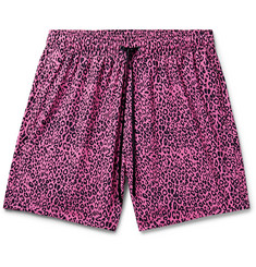 AMIRI Wide-Leg Mid-Length Leopard-Print Swim Shorts