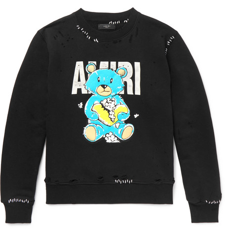 Amiri T-shirts Oversized Distressed Printed Loopback Cotton-Jersey Sweatshirt