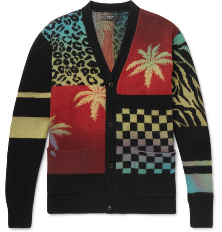 Oversized Patchwork Intarsia Cashmere And Virgin Wool Blend Cardigan by Amiri