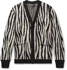 AMIRI Zebra-Jacquard Cashmere and Wool-Blend Cardigan