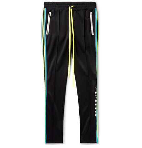 Skinny Fit Webbing Trimmed Tech Jersey Sweatpants by Amiri