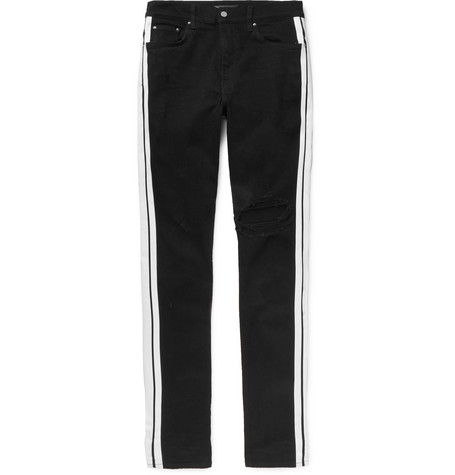 Track Skinny Fit Striped Distressed Stretch Denim Jeans by Amiri