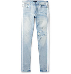 AMIRI Track Stack Skinny-Fit Striped Distressed Stretch-Denim Jeans