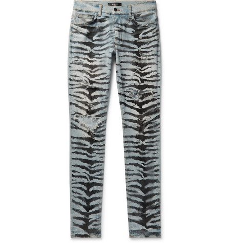 Skinny Fit Distressed Printed Stretch Denim Jeans by Amiri