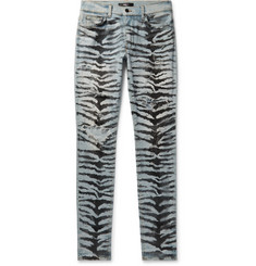 AMIRI Skinny-Fit Distressed Printed Stretch-Denim Jeans