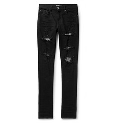 AMIRI Skinny-Fit Sequin-Embellished Distressed Stretch-Denim Jeans
