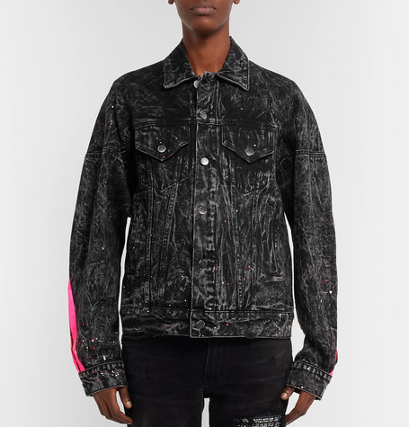 Oversized Striped Paint Splattered Denim Jacket by Amiri