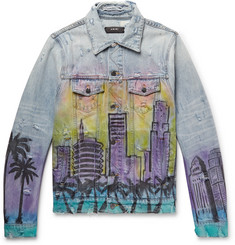 AMIRI Slim-Fit Printed Distressed Denim Jacket