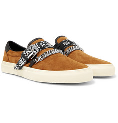 AMIRI - Embellished Leather-Trimmed Suede Slip-On Sneakers