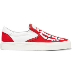 AMIRI Leather-Appliquéd Canvas Slip-On Sneakers