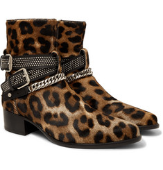 AMIRI - Embellished Leather and Calf Hair Jodhpur Boots