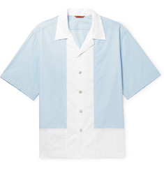 Barena Camp-Collar Panelled Cotton-Poplin Shirt