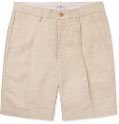 Saturdays NYC Pleated Linen and Cotton-Blend Twill Shorts