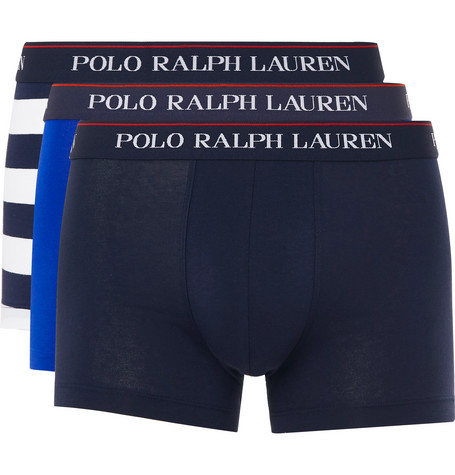 Shop Polo Ralph Lauren Three-Pack Stretch-Cotton Jersey Boxer Briefs ... 5c7628bbad6