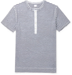 120% - Slim-Fit Garment-Dyed Striped Slub Linen Henley T-Shirt