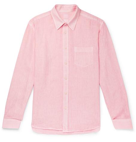 120% Garment-dyed Linen Shirt In Pink