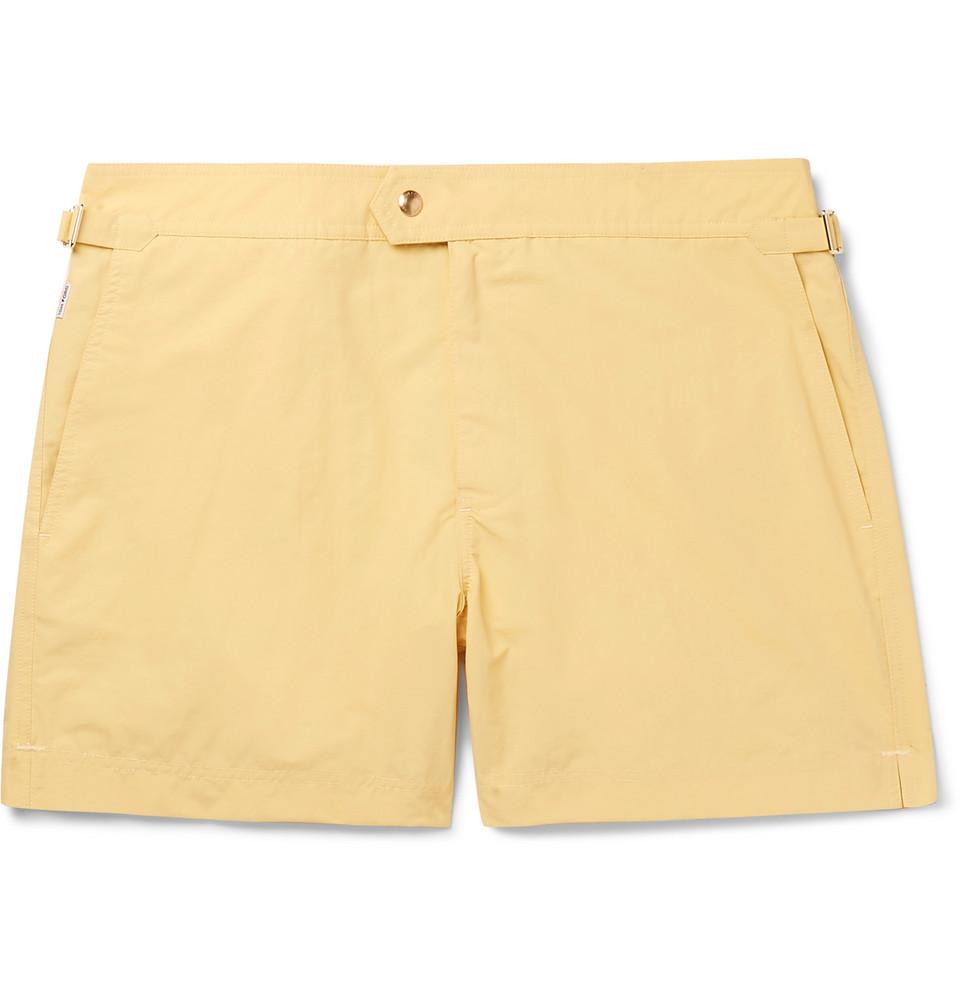 Slim-fit Mid-length Swim Shorts - Yellow