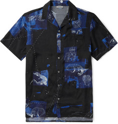 Lanvin Camp-Collar Printed Matte-Satin Shirt