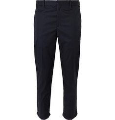 Neil Barrett Midnight-Blue Tapered Cropped Cotton-Blend Trousers