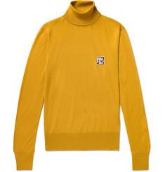 Slim Fit Logo Intarsia Virgin Wool Rollneck Sweater by Prada