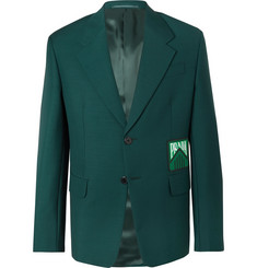 Prada - Bottle-Green Slim-Fit Logo-Appliquéd Mohair and Wool-Blend Blazer