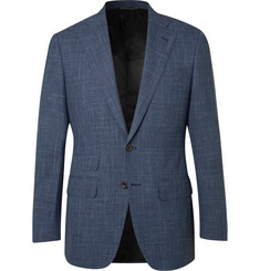 Thom Sweeney Blue Slim-Fit Checked Wool, Silk and Linen-Blend Suit Jacket