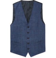 Thom Sweeney - Blue Checked Wool, Silk and Linen-Blend Waistcoat