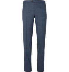 Thom Sweeney Blue Slim-Fit Checked Wool, Silk and Linen-Blend Suit Trousers